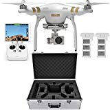 DJI Phantom 3 Professional Quadcopter Aircraft, 3-Axis Gimbal & 4K UHD Video Camera, Remote Controller Included – Bundle with Extra Battery, Aluminum Case